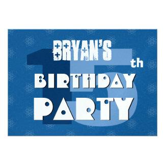 15o Festa de aniversário 15 anos de estrelas azuis Convite Personalizado