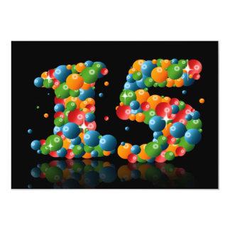 15o Festa de aniversário, com bolhas e bolas Convite 12.7 X 17.78cm