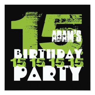15o Grunge Z15A do adolescente de 15 anos da festa Convite Quadrado 13.35 X 13.35cm