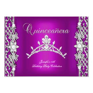 15o Tiara roxa 15 da festa de aniversário de Convite 12.7 X 17.78cm