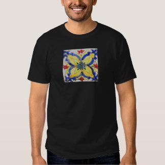 1600s florais árabes do azulejo do motivo do teste camisetas