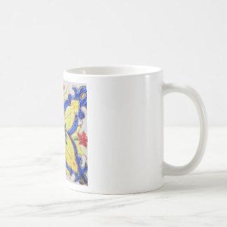 1600s florais árabes do azulejo do motivo do teste caneca de café
