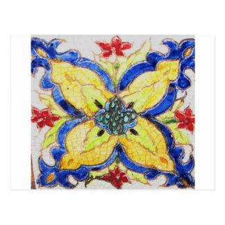1600s florais árabes do azulejo do motivo do teste cartão postal
