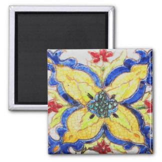 1600s florais árabes do azulejo do motivo do teste ímã quadrado