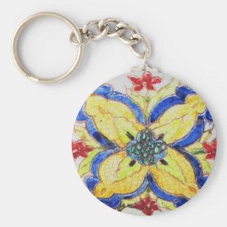 1600s florais árabes do azulejo do motivo do teste chaveiro