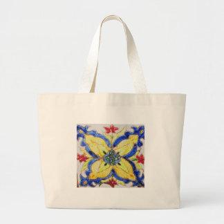 1600s florais árabes do azulejo do motivo do teste sacola tote jumbo