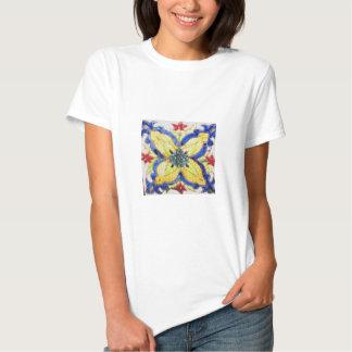 1600s florais árabes do azulejo do motivo do teste tshirts