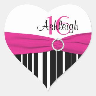 16a etiqueta listrada cor-de-rosa, preta, branca adesivo coração