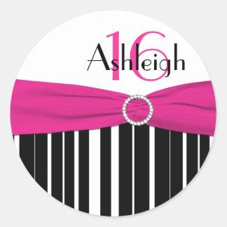 16a etiqueta listrada cor-de-rosa, preta, branca adesivos em formato redondos