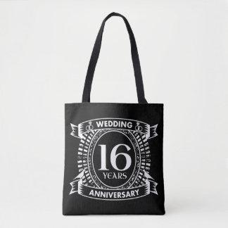 16o aniversário de casamento preto e branco bolsa tote