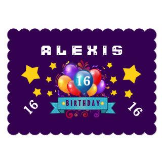16o Balões do aniversário e estrelas festivos B116 Convites
