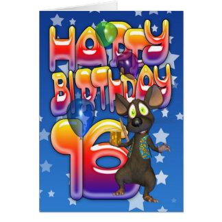 16o Cartão de aniversário, feliz aniversario