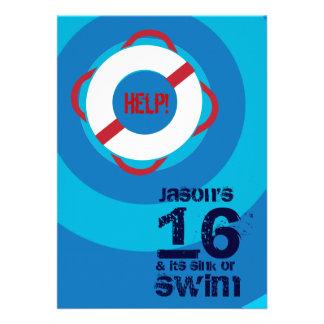 16o Convite da festa na piscina do aniversário