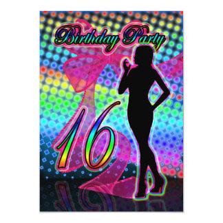 16o Convite de aniversário, néon com S fêmea
