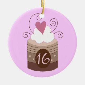 16o Ideias do presente de aniversário para ela Ornamento De Cerâmica Redondo