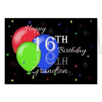 16o neto feliz do aniversário cartão comemorativo