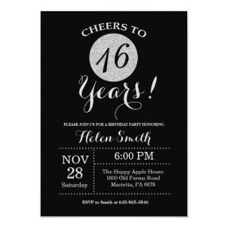 16o Preto do convite do aniversário e brilho da