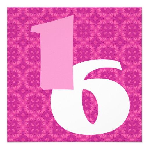 16o Rosa quente W973 branco dos grandes números do Convites