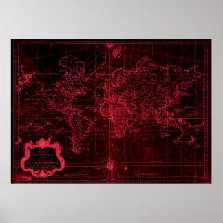 1778) pretos do mapa do mundo (& vermelho claro poster