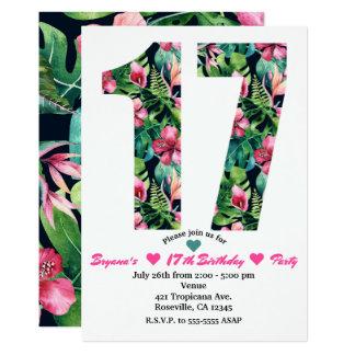 17 florais tropicais 17o convite de aniversário