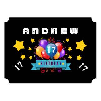 17o Balões do aniversário e estrelas festivos B117 Convites Personalizado