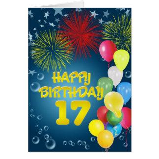 17o Cartão de aniversário com fogos-de-artifício e