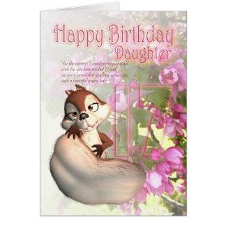 17o Cartão de aniversário para a filha com esquilo