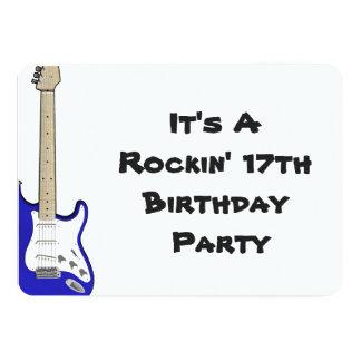 17o Guitarra do convite do aniversário, a azul e a