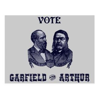 1880 voto Garfield e Arthur Cartão Postal