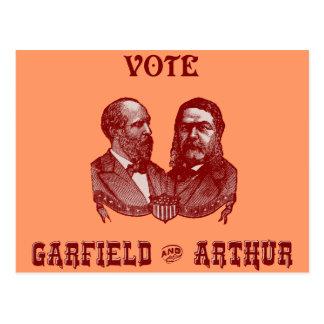 1880 voto Garfield e Arthur, vermelhos Cartão Postal