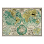 1897 mapa de Velho Mundo - Tra antigo Impressão