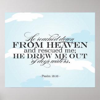 18 16 do salmo - escritura da bíblia pôsteres