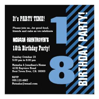 18 ou algumas listras modernas V18Z do aniversário Convite Quadrado 13.35 X 13.35cm