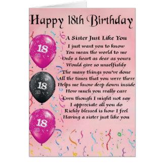 18o aniversário feliz - poema da irmã cartao