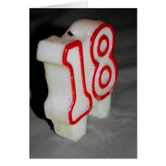 18o Cartão de aniversário da vela do aniversário