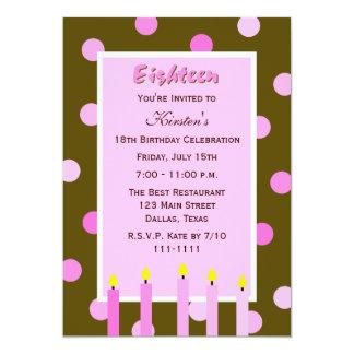 18o Convite de aniversário -- Bolinhas cor-de-rosa