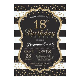18o Convite do aniversário. Preto e brilho do ouro