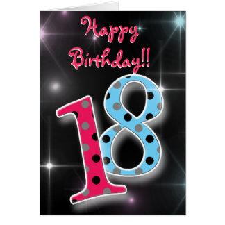 18o divertimento feliz do aniversário & cartão