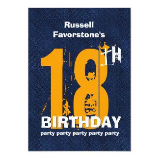 18o Festa de aniversário resistida moderna do Convite 12.7 X 17.78cm