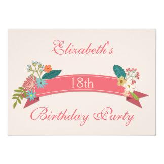 18o O vintage do aniversário floresce a bandeira Convite 12.7 X 17.78cm
