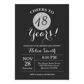 18o Preto do convite do aniversário e brilho da