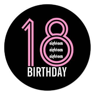 18o W689B16 cor-de-rosa da festa de aniversário e Convite Personalizados