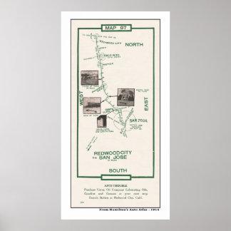 1914 mapa, Palo Alto ao poster de San Jose