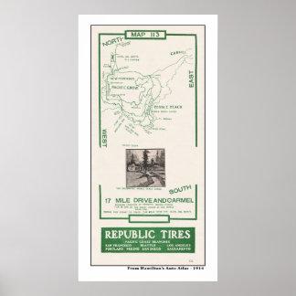 1914 mapa, Pebble Beach, movimentação de 17 milhas Poster