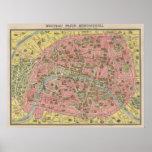 1920 mapas cénicos do viagem das vistas de Paris,  Posters