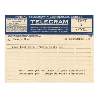 1920 Postal de Telegram (Postcard) Cartão Postal
