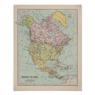 1920 ' s French North América Map Pôster