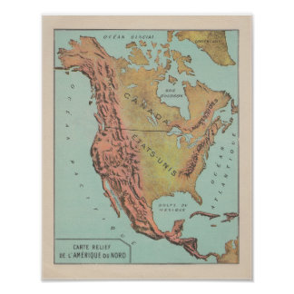 1920 ' s French North América Physical Map Pôster