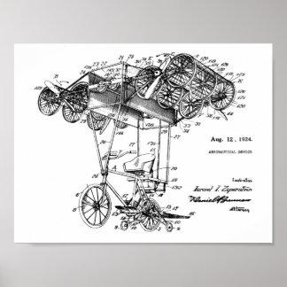 1924 impressões de voo do desenho da patente do