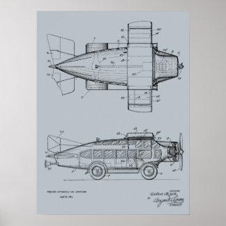 1930 impressões de voo do desenho da arte da